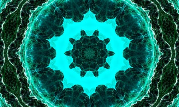 深部腎炎スター万華鏡。腎炎の色合いの幾何学的要素の抽象的なトレンディな装飾的なシームレスパターン。翡翠の幾何学的形状