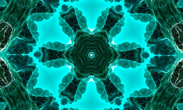 深部腎炎スター万華鏡。腎炎の色合いの幾何学的要素の抽象的なトレンディな装飾的なシームレスパターン。翡翠の幾何学的形状。