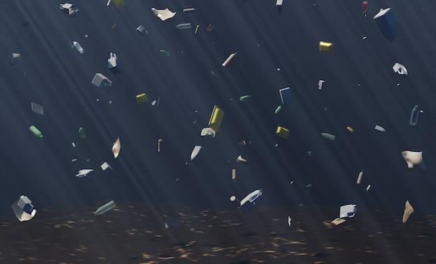 떠 다니는 쓰레기가 많은 심해. 기후 변화. 3d 렌더링