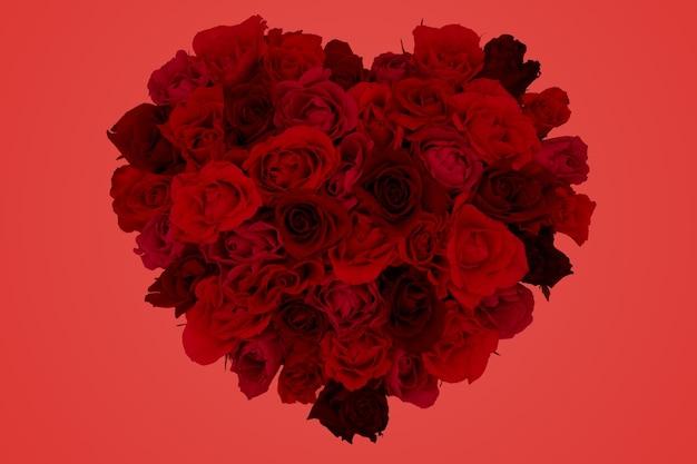 깊은 붉은 색된 배경 심장 모양의 장미 꽃다발