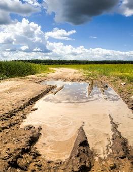 비가 내린 후 물이 가득 차는 들판의 모래 길의 깊은 자국, 운전이 불가능한 나쁜 길