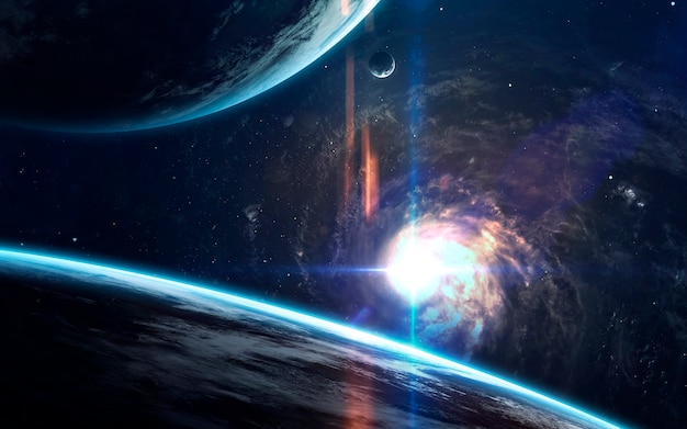 Красота дальнего космоса, планеты, звезды и галактики в бесконечной вселенной.