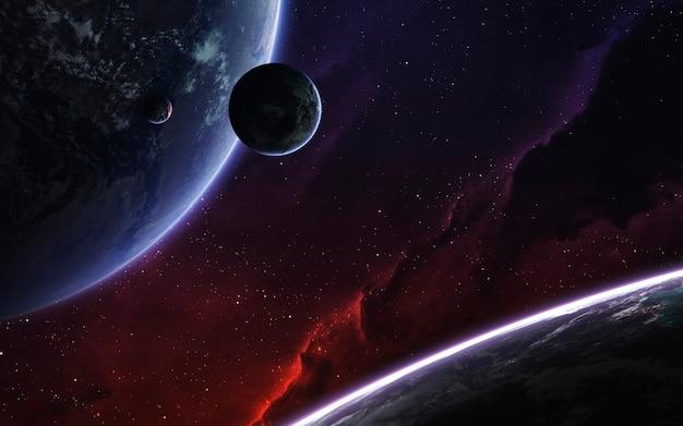 現実的な惑星のある深宇宙の風景。 nasaによって提供されたこの画像の要素