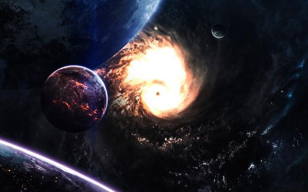 Пейзаж глубокого космоса с реалистичными планетами. элементы этого изображения, предоставленные наса