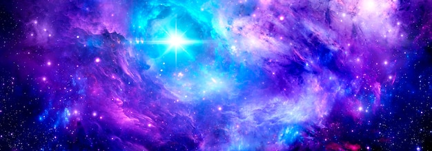 A deep space nebula with a bright star and stardust as a cosmic background