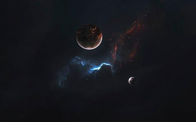 Глубокие космические планеты, фантастические обои, космический пейзаж. элементы этого изображения, предоставленные наса