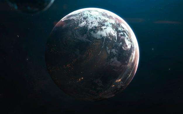 깊은 우주 행성, 멋진 공상 과학 벽지, 우주 풍경. nasa에서 제공 한이 이미지의 요소