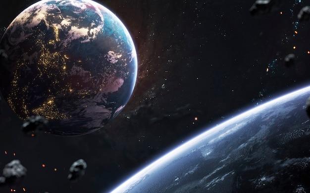 深宇宙の惑星、素晴らしい空想科学小説の壁紙、宇宙の風景。 nasaによって提供されたこの画像の要素