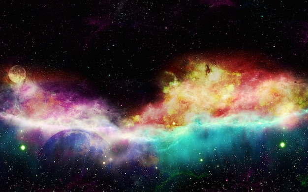 깊은 우주 우주 성운 과학 연구 프로젝트에 사용하기위한 별이 빛나는 우주 및 우주 성운 은하
