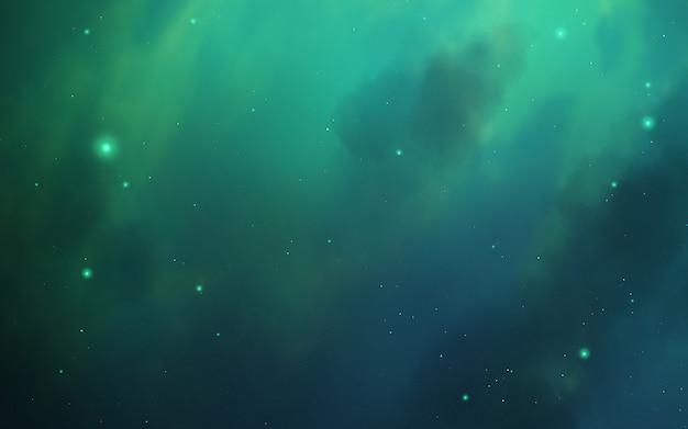 Deep and starry green nebula.