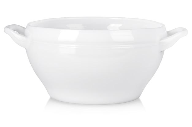 白で隔離スープ用ハンドル付きの深い白いプレート