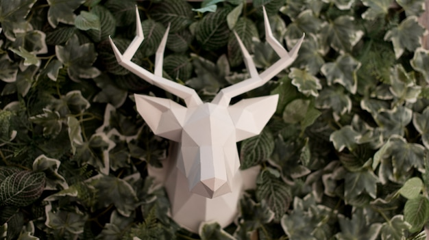 Deer head made of paper
