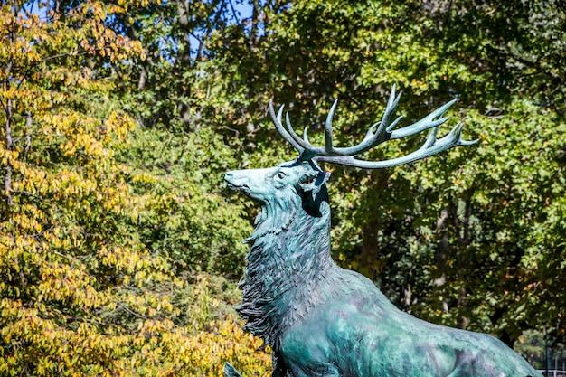 Deer statue in luxembourg gardens, paris, france