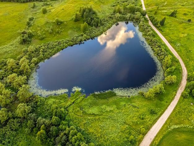 デフォルト空と雲が反射する小さな湖湖の周りの緑の草と木