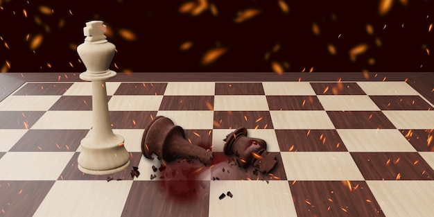 The defeat in the chess game and failed in business 3d illustration