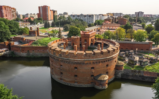 Defensive tower of der dohna in kaliningrad. now it's amber museum. aerial view