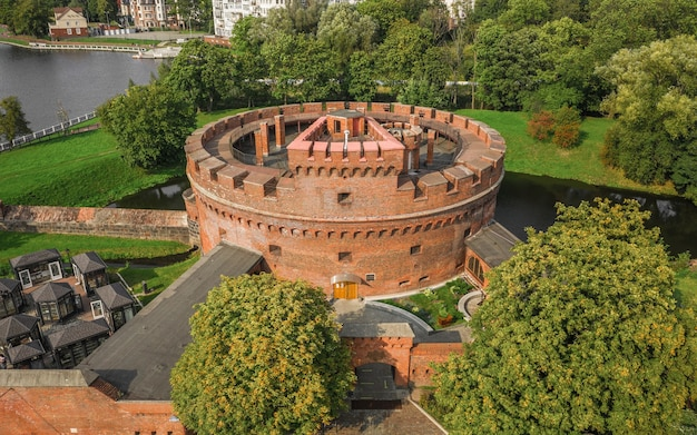 Defensive tower of der dohna in kaliningrad. now it's amber museum and historical landmark. aerial view
