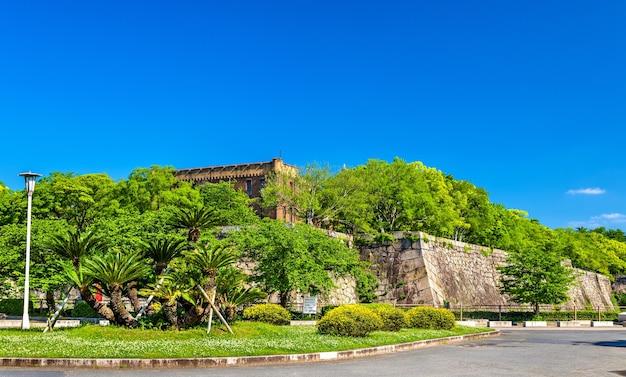 Defensive walls of osaka castle in osaka, japan