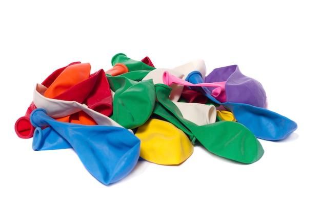 Deflated colorful balloons