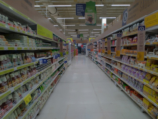 Defocused abstract background. supermarket aisle with products unrecognizable by blur. for backdrop.