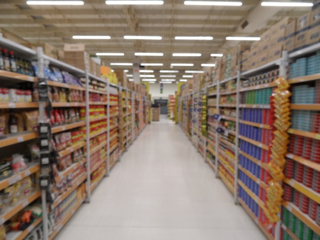 Defocused abstract supermarket aisle with colorful shelves and unrecognizable products