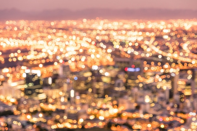 Defocused background of cape town skyline from signal hill after sunset