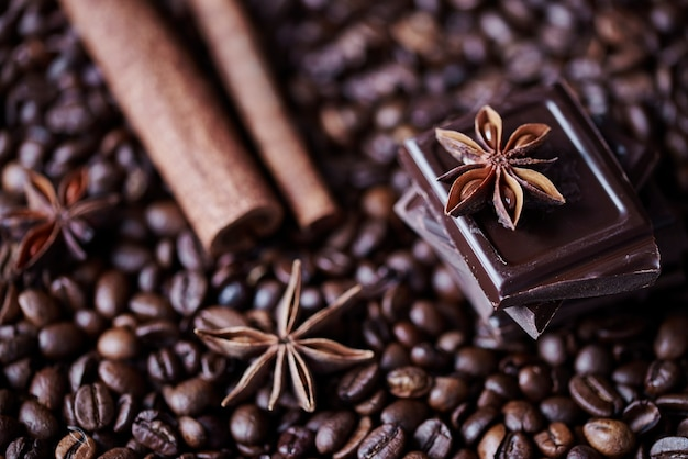 Defocused coffee, chocolate and cinnamon