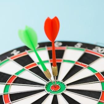 Defocused dart board with darts