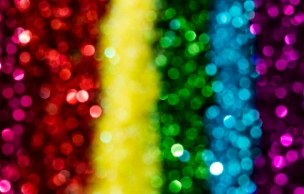Glitter arcobaleno riflettente sfocato
