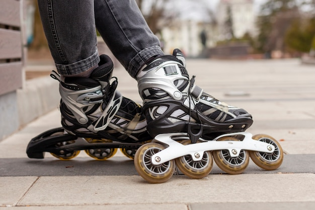 Defocused side view of roller blades