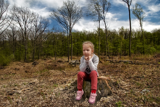 Deforestation. ecological problems of the planet, deforestation of pine forests. little girl inspects the site of deforestation