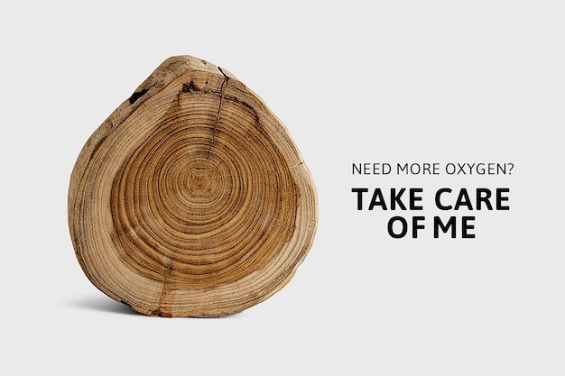 Banner di sensibilizzazione ambientale sulla deforestazione con fetta di legno tritata