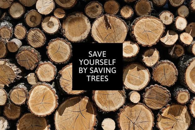 木材の背景のスタックによる森林破壊環境意識