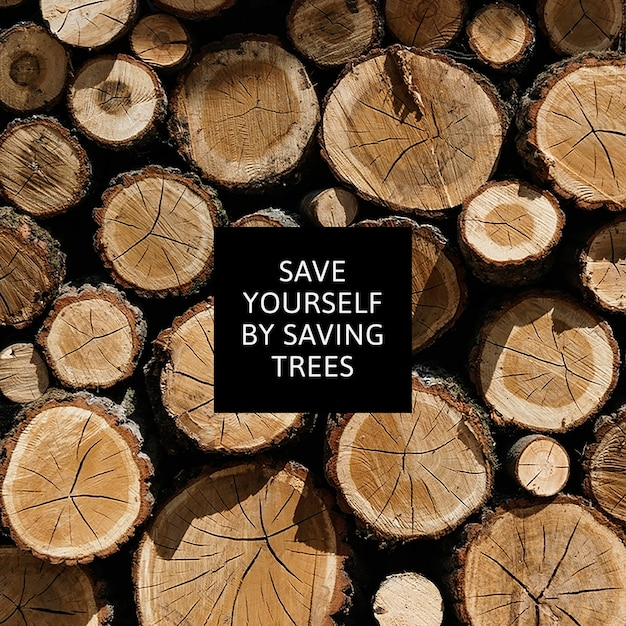 Deforestation environmental awareness with stack of timber background