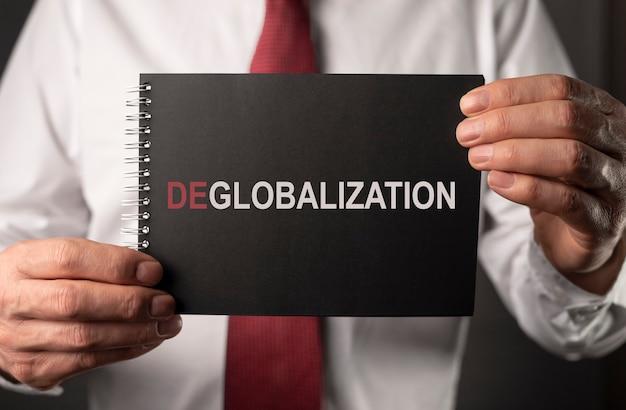 ビジネスと商業の概念における脱グローバル化。反グローバリズム、逆グローバリゼーションという言葉。