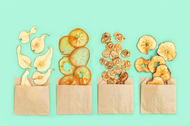 Dehydrated fruit chips of apple, banana, persimmon, pear