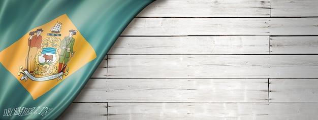 Delaware flag on white wood wall banner, usa. 3d illustration