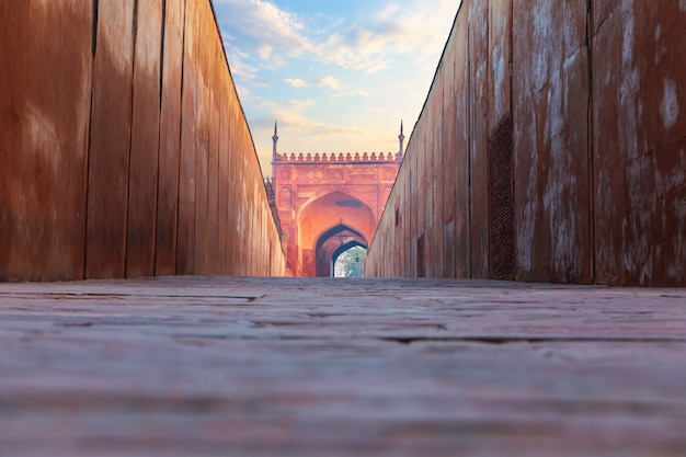 Delhi gate in red agra fort, india.