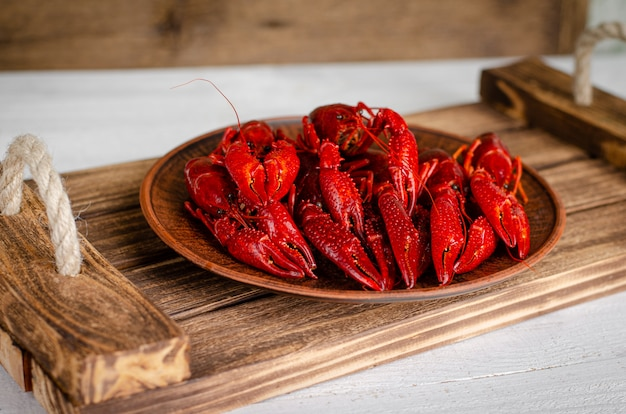 Delicacy food concept. crayfish on a wooden tray. copy space