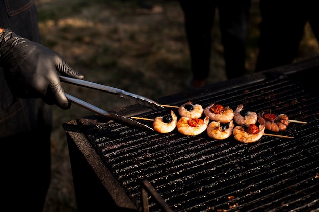 Delicacy shrimp grill for camping meal