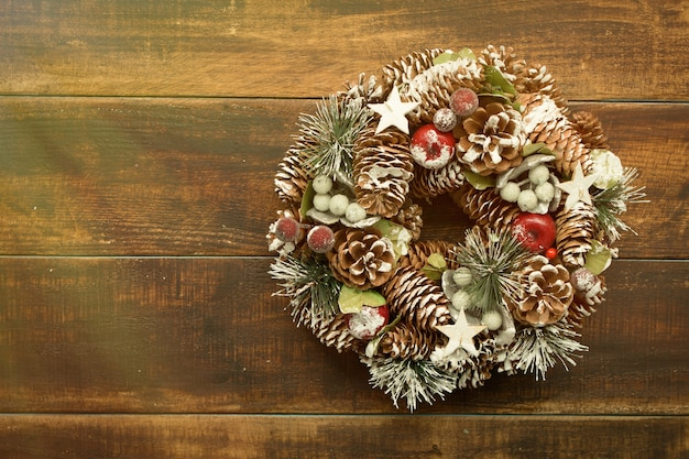Delicate christmas wreath of pine cones