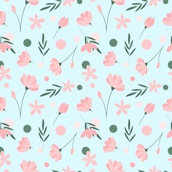 水色の背景に繊細な花のシームレスなパターン花の葉と円の繰り返し印刷