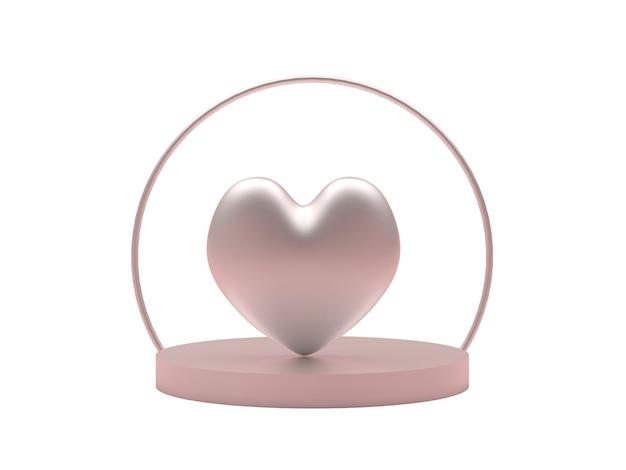 Delicate heart on a round pedestal platform