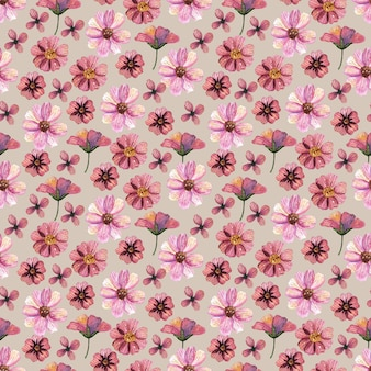 繊細なプレスされた花の水彩画のシームレスなパターンとドライフラワーアレンジメントは、自然な背景に配置されます