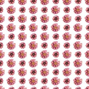 自然なカラーパレットの繊細なプレスされた花の水彩画のシームレスなパターンとドライフラワーアレンジメント。