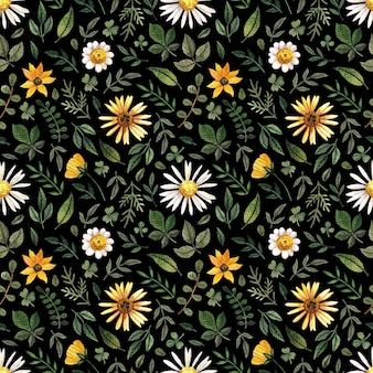 Delicate pressed floral watercolor seamless patterns and dried flower arrangements are placed on black backgrounds in natural colour palette.
