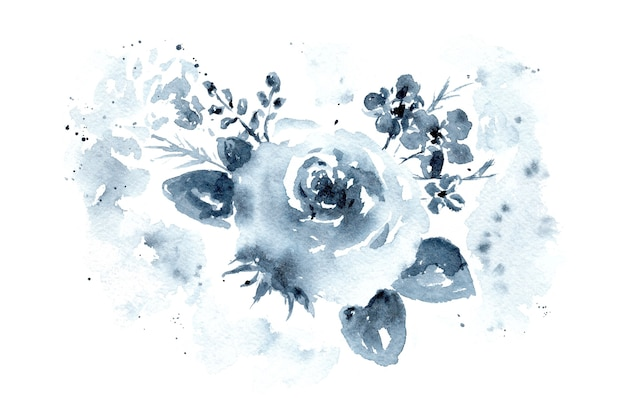 Delicate watercolor monochrome indigo blue floral roses bouquet with leaves and blossoms