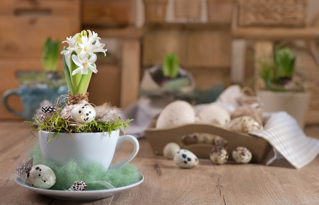 Delicate white hyacinth on vintage kitchen. happy easter!