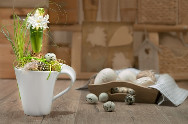 Delicate white hyacinth on vintage kitchen.