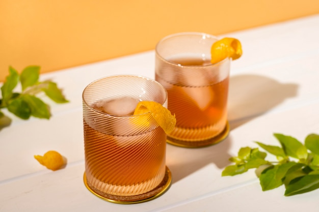 Delicious alcoholic drinks ready to be served